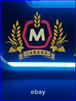 (VTG) Molson Beer Neon light up Hockey Stick NHL bar pub sign Canada rare