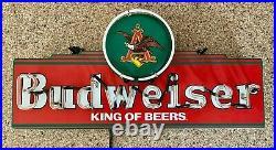 (VTG) Rare Vintage Budweiser Beer Neon Light Up Sign Eagle 30 Bar Decor