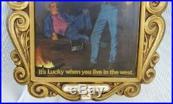 Vintage 1970's Lucky X Lager Fine Beer Neon Lighted Cowboy Sign Western WORKS