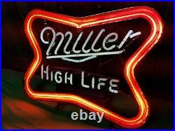 Vintage Miller High Life Beer Neon Sign Light 20x19 USA 1976 Franceformer
