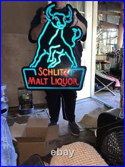 Vintage Schlitz Malt Liquor Lighted Beer Sign Neon Works