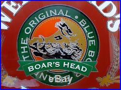 Weinhard's Red Beer Rotating Neon Light Sign Blue Boar Boar's Head Bar Mancave